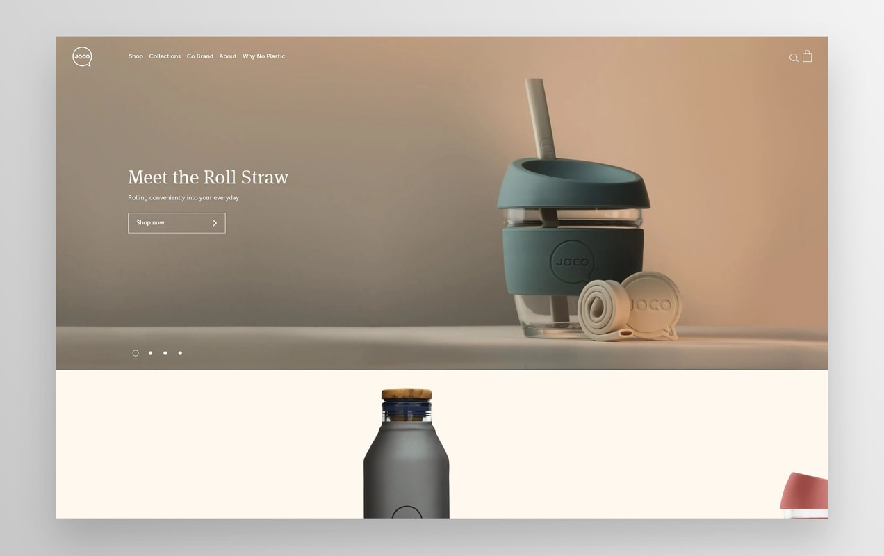 Joco Cups home page with photos of their products