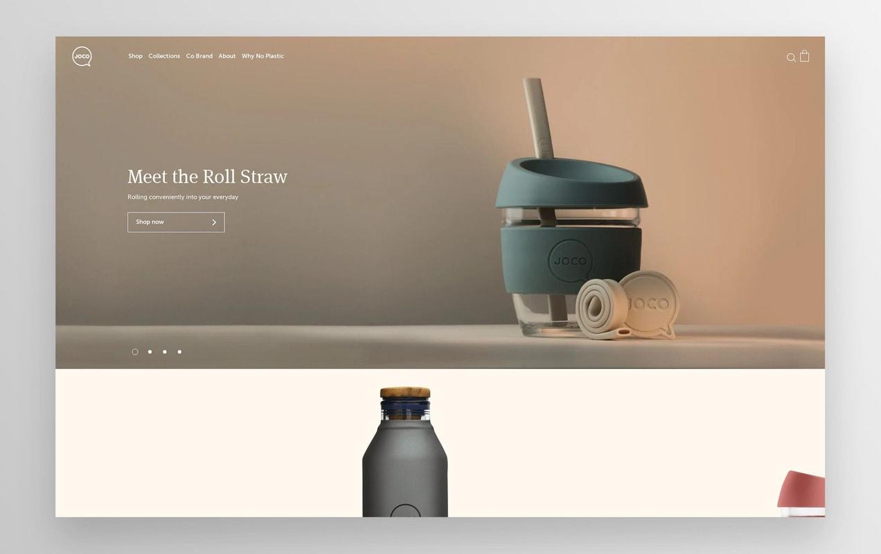 Página inicial da Joco Cups com fotos de seus produtos