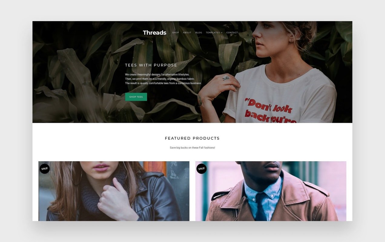 the Threads theme, with clothing-specific features