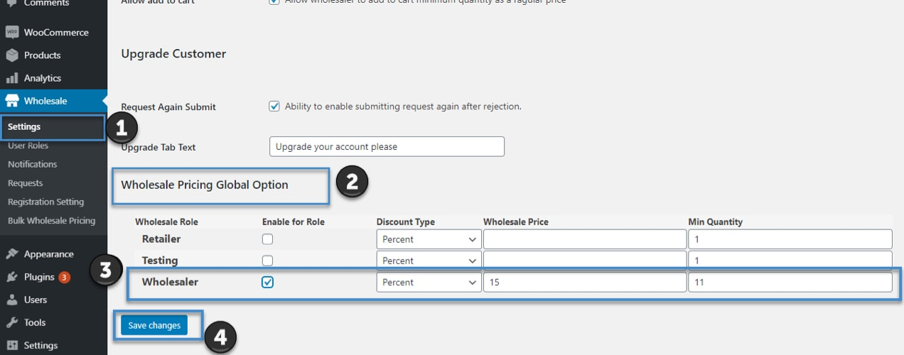wholesale pricing options in the dashboard