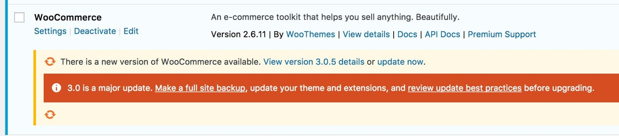 WooCommerce update in the dashboard