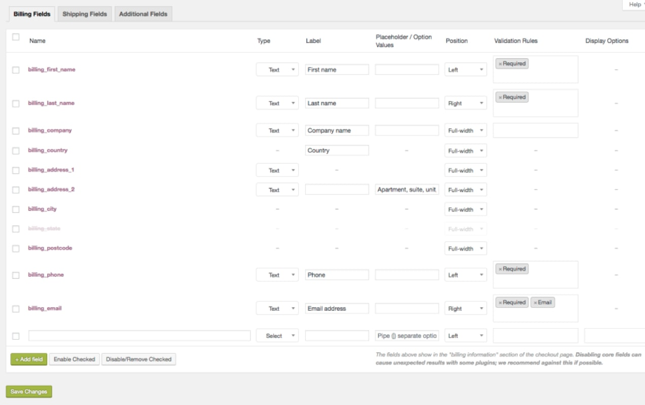editing checkout fields in the WooCommerce dashboard