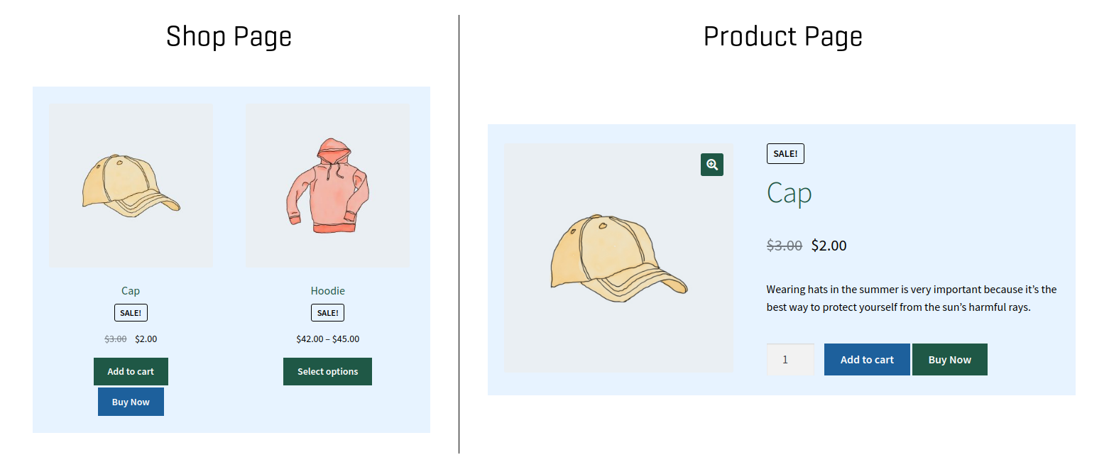 Buy Now buttons can skip cart and checkout pages for one step checkout