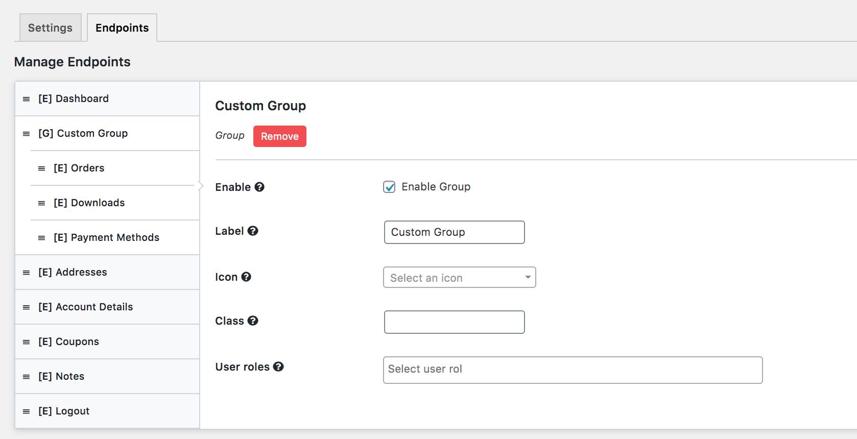 add custom group