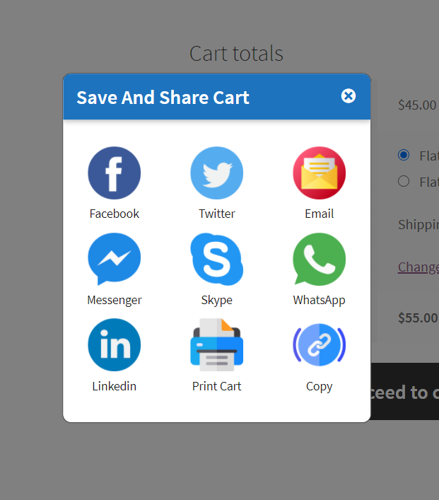 save and share cart social icons