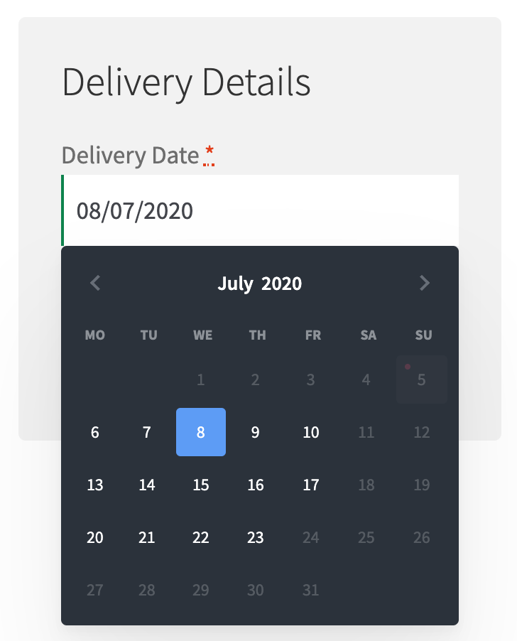 Modern calendar for delivery date in WooCommerce