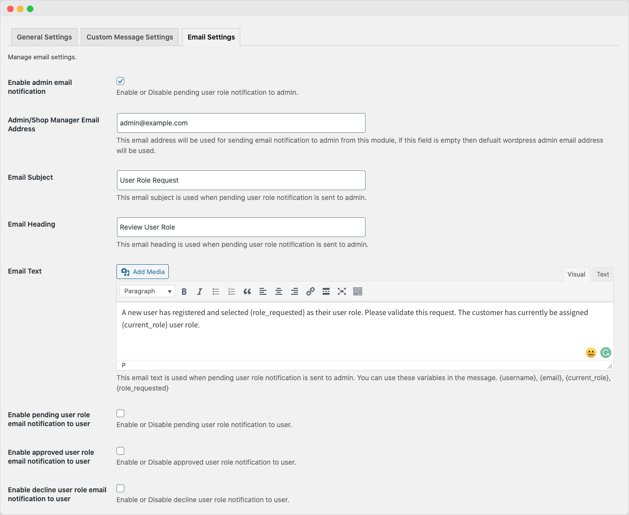 Email settings for user roles