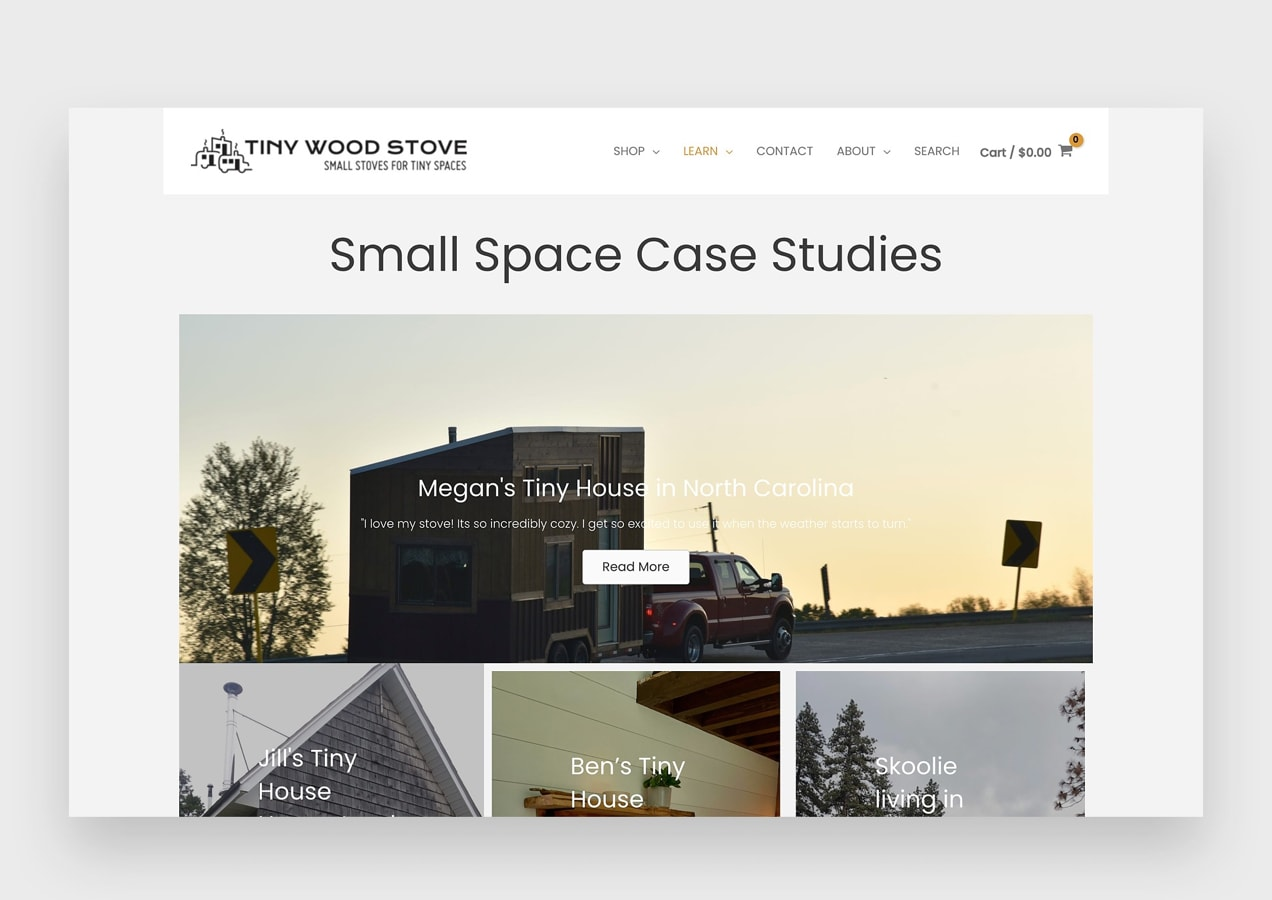 case studies page on the Tiny Wood Stove website