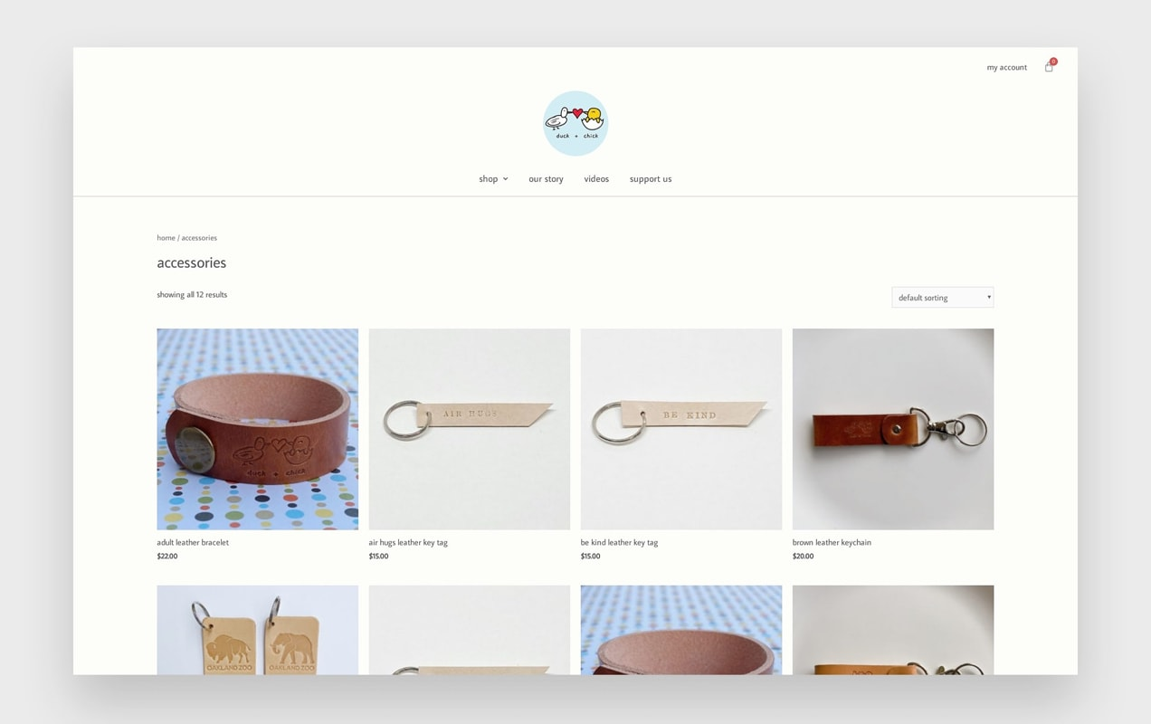 Duck and Chick website with products in a gridP