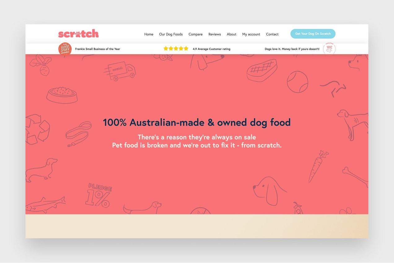 Scratch Pet Foods website