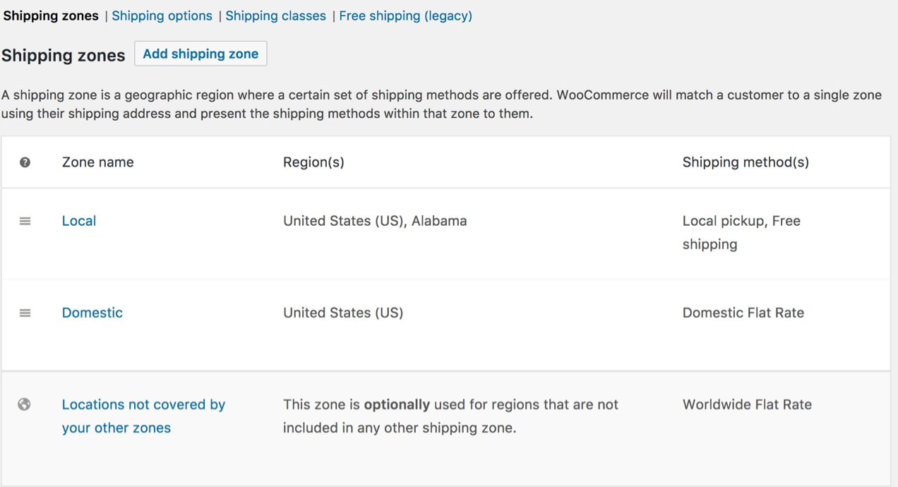 shipping zone settings in WooCommerce