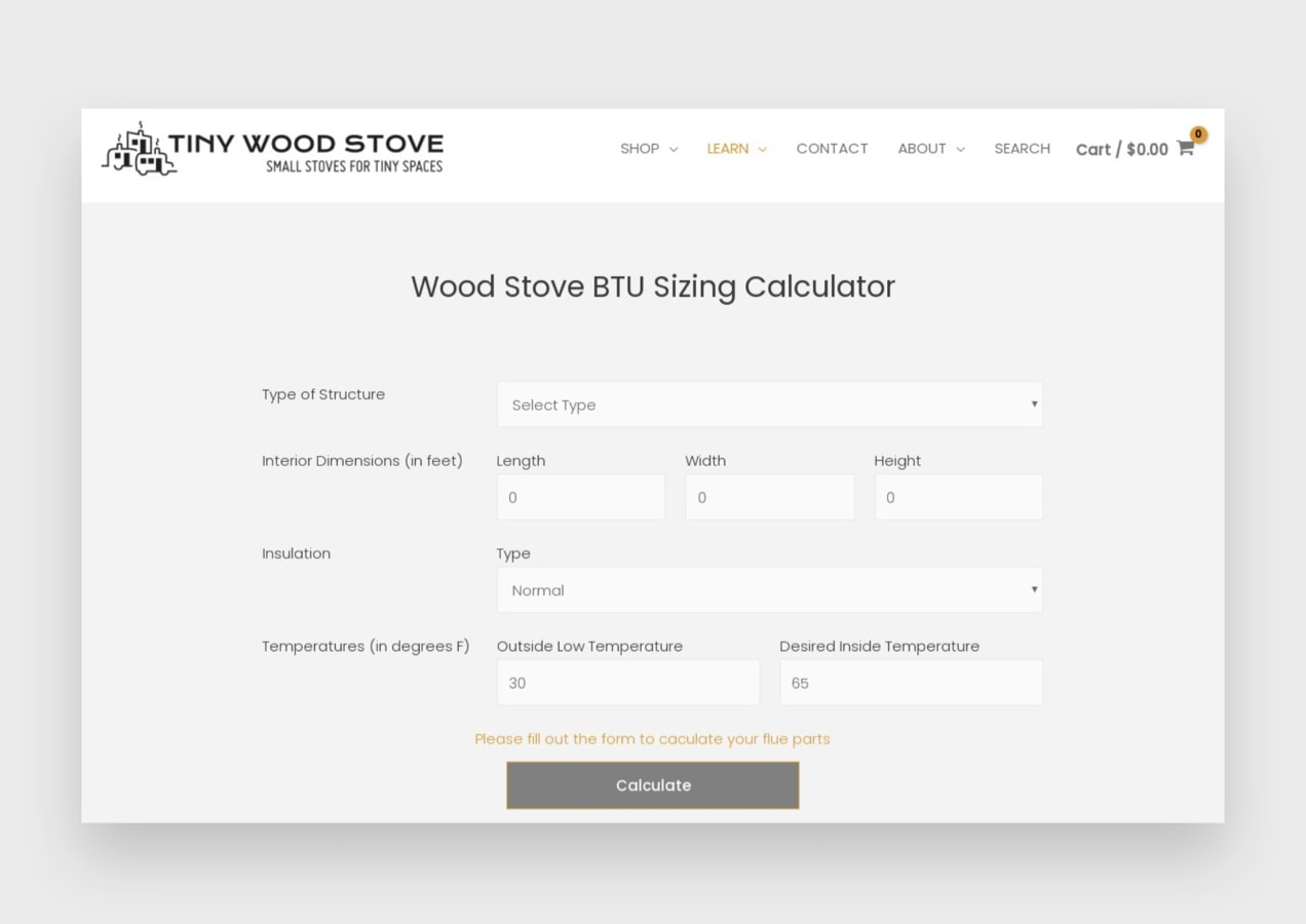 stove size calculator on the website