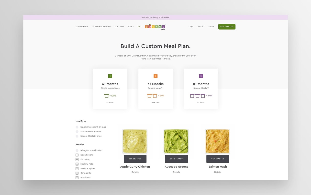 Square Baby website, where customers can build a meal plan