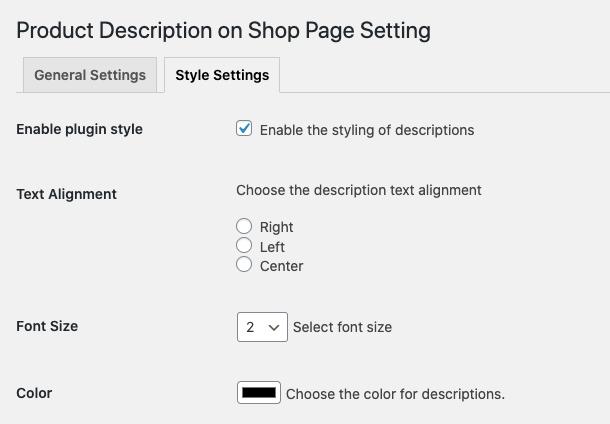 Product description style settings