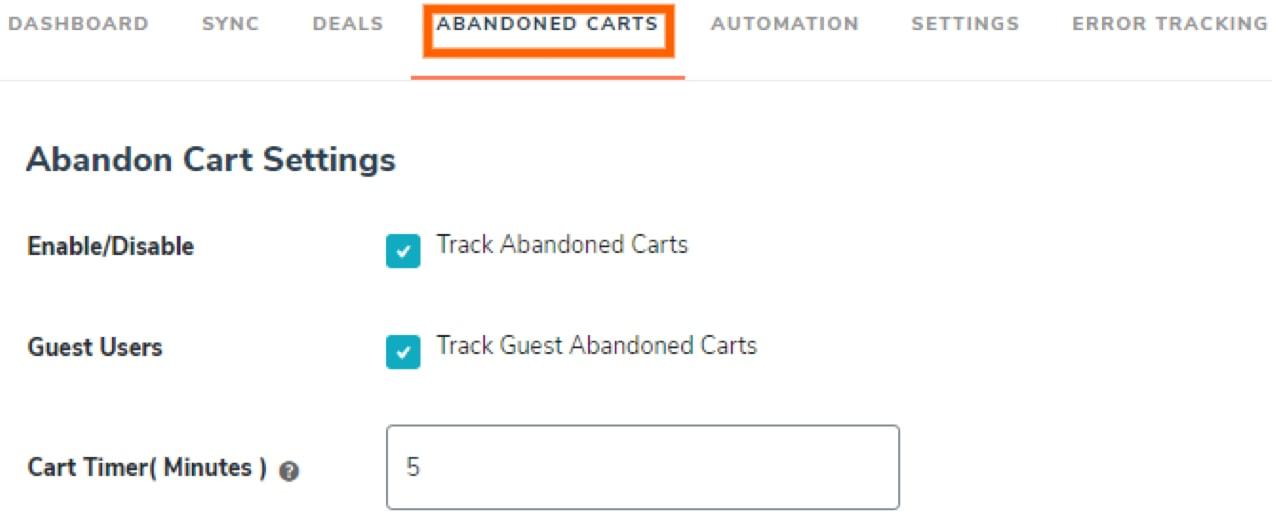 abandoned cart settings