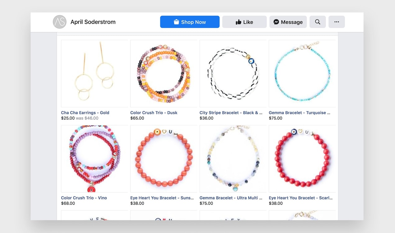 products listings on April Soderstrom's Facebook account