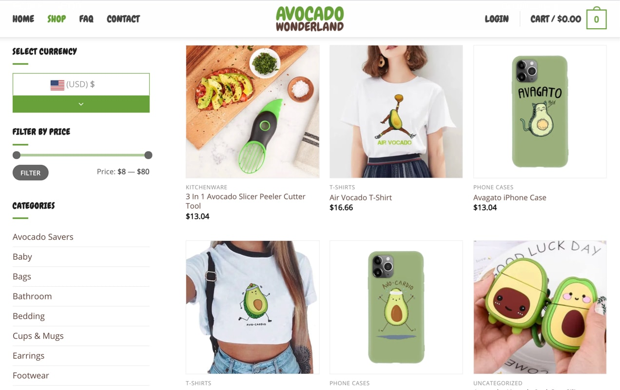 avocado themed products displayed in a grid