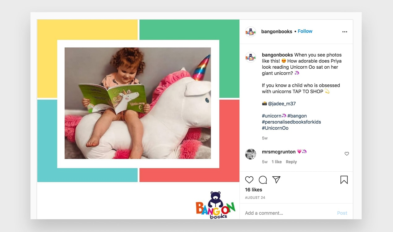 Instagram post from Bang On Books showing a child reading her new book