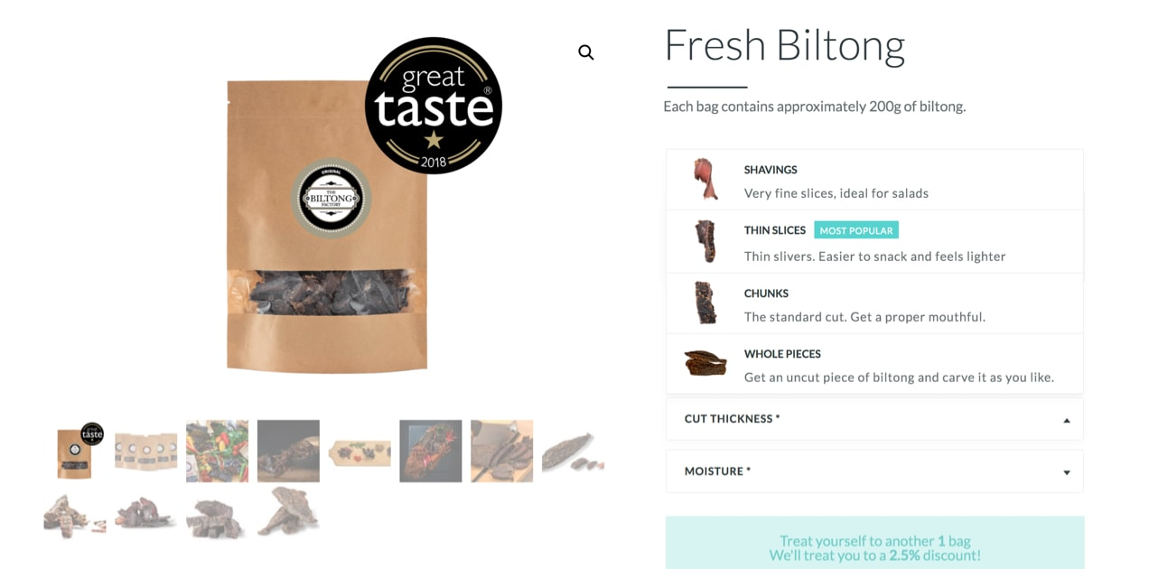 Biltong product options