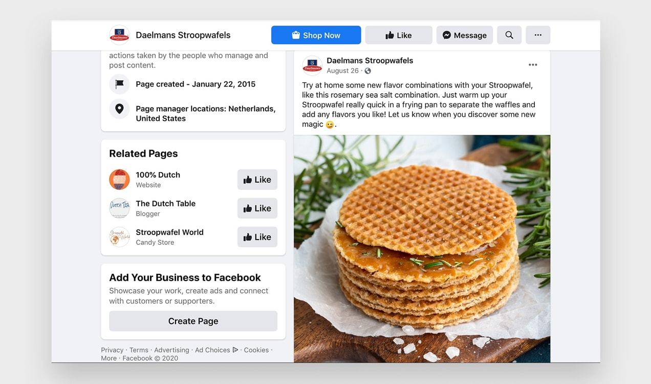 Facebook post from Daelmans Stroopwafels that gives customers ideas for how to use their product