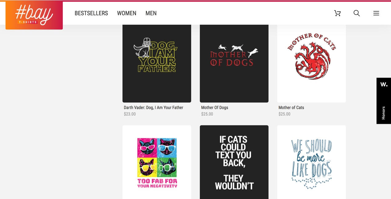 t-shirt designs showcased in a grid