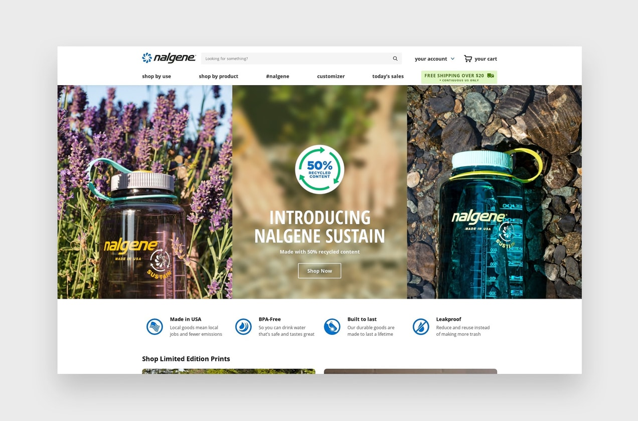 Nalgene website with
