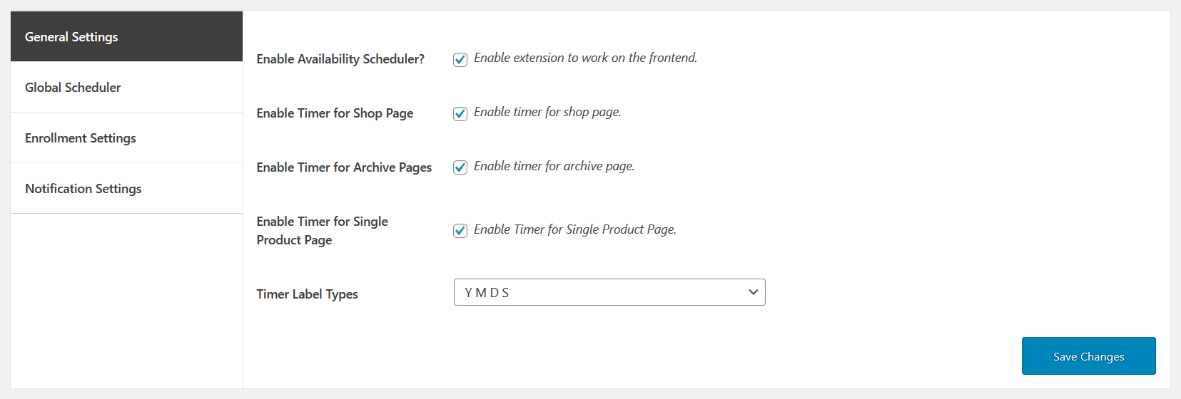 availability scheduler for woocommerce general settins