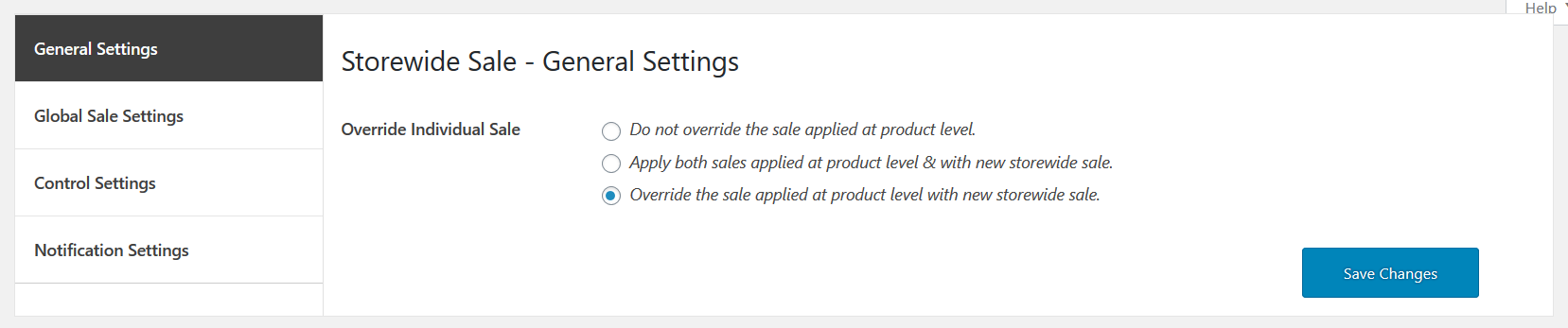 store wide sale for woocommerce general settinngs