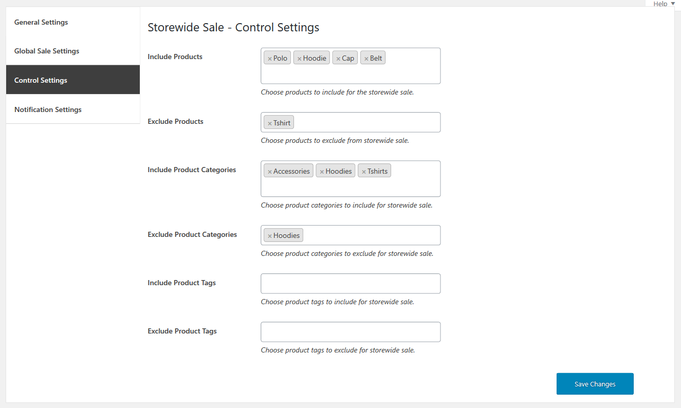 02 store wide sale for woocommerce control settinngs
