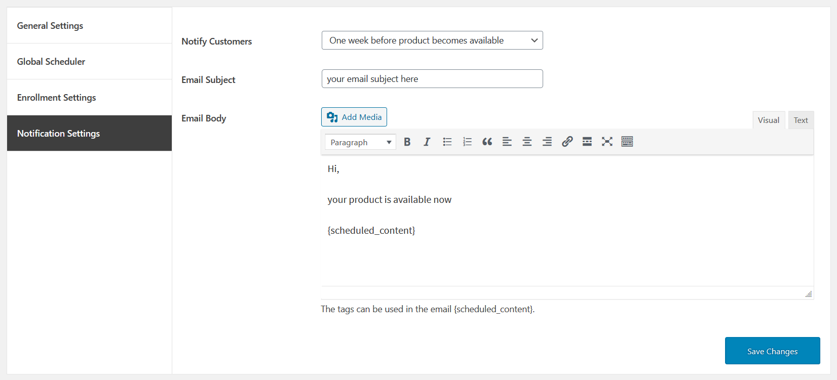 02 Availability Scheduler for WooCommerce notification settings