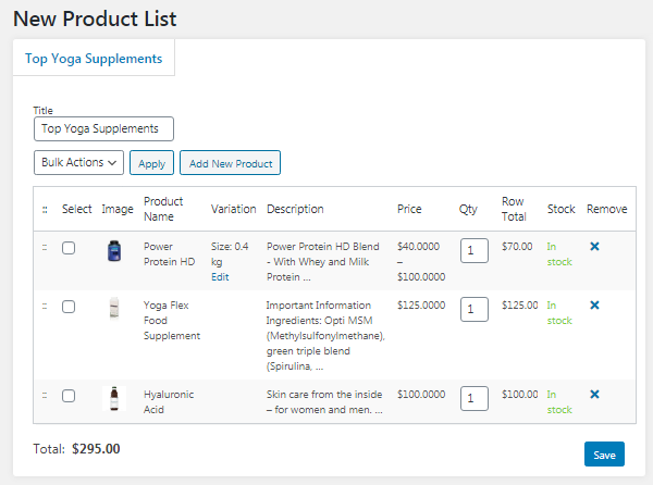 New product list