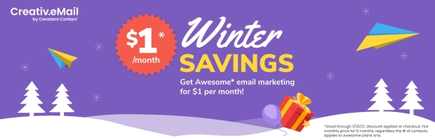 Creative  Mail for  WooCommerce Winter Savings promotion