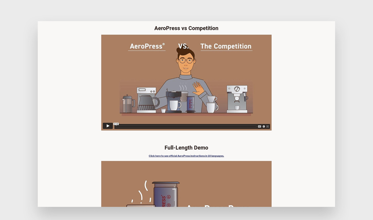 AeroPress videos with illustrations