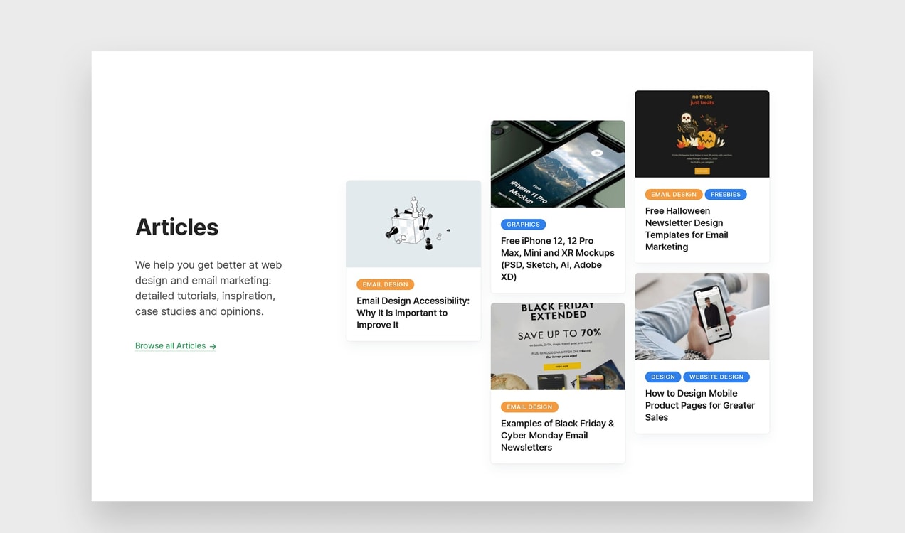 DesignModo list of articles on their home page