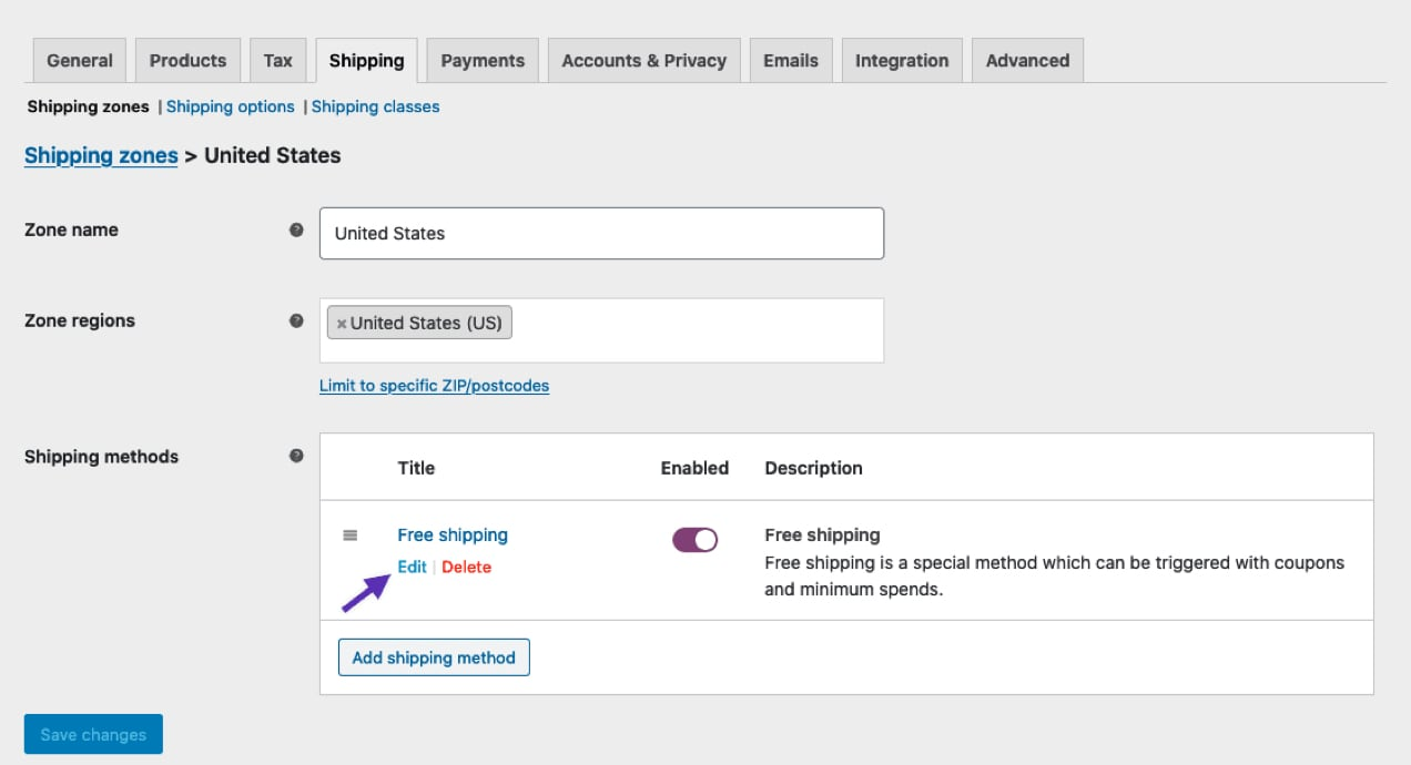 setting up free shipping in the WooCommerce dashboard