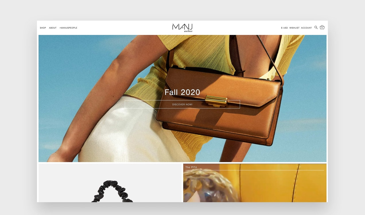 Manu Atelier website with big, luxurious photos