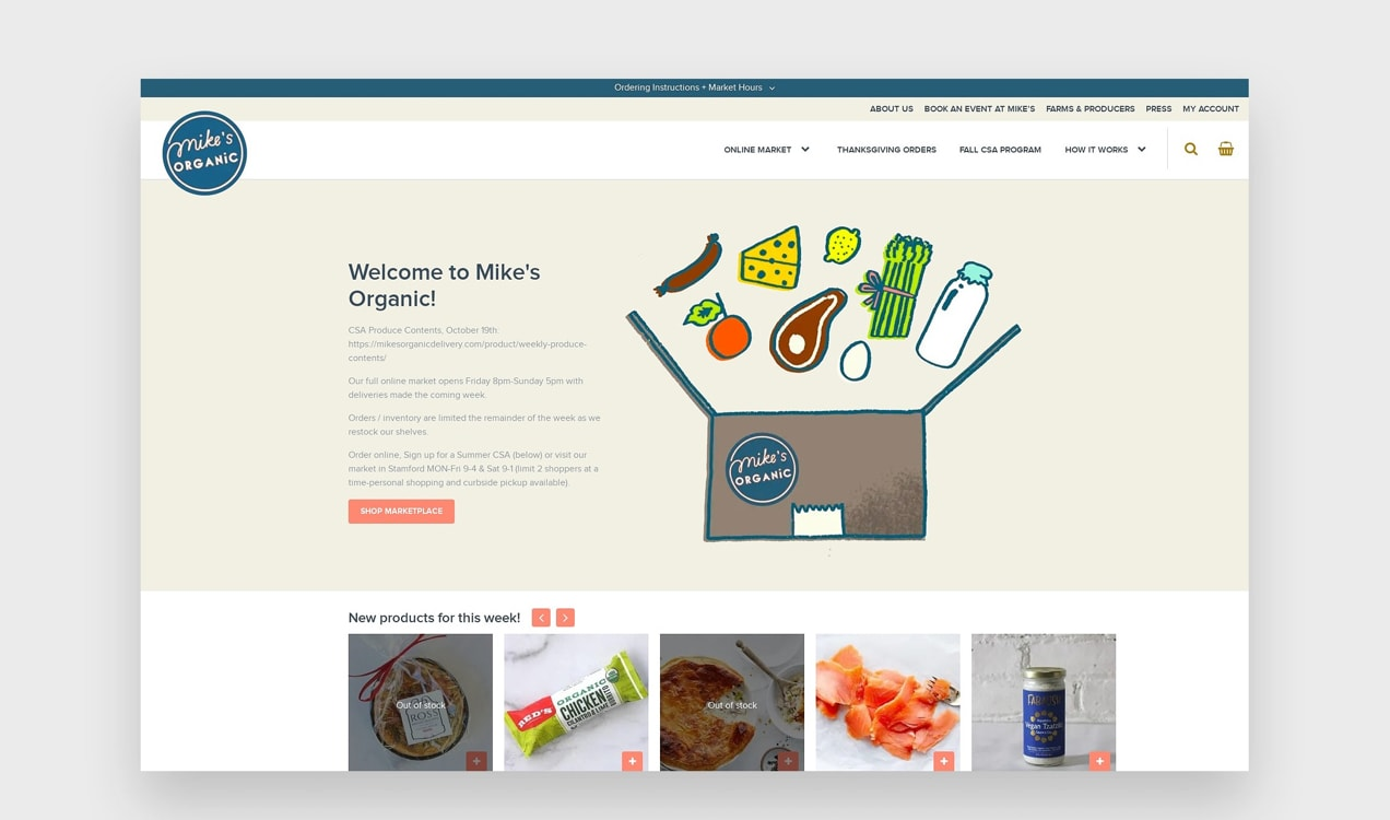 Mike's Organic website with bright, custom illustrations