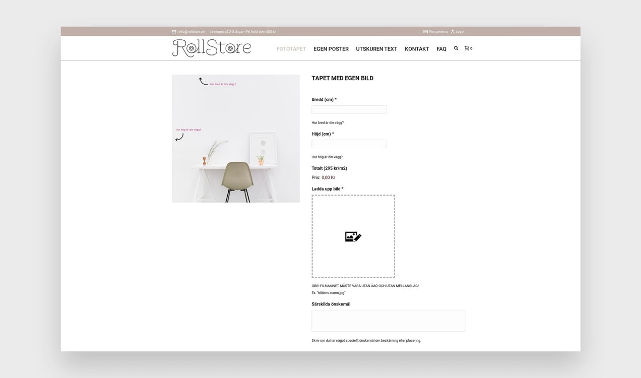 print on demand product from RollStore with custom options