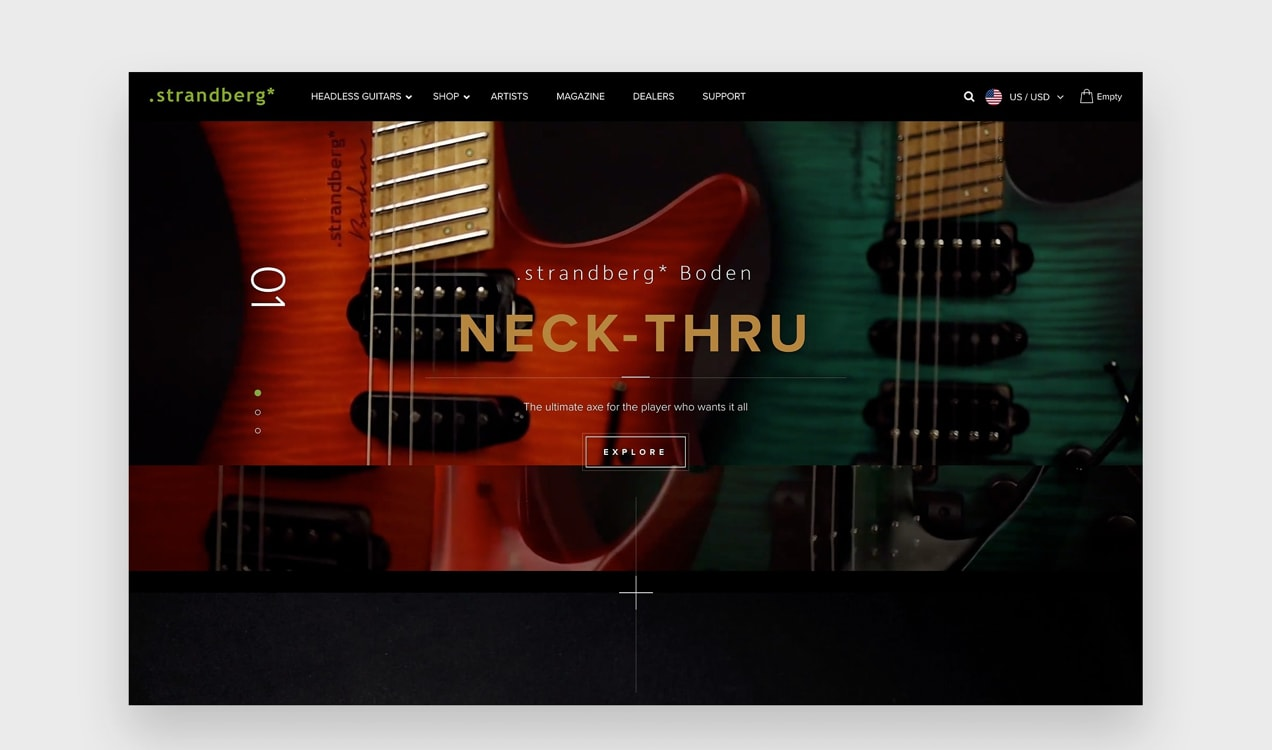 Strandberg Guitars website with dark overlays