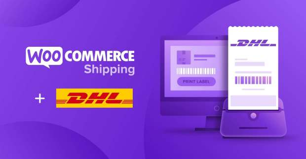 woocommerce and dhl logos on a purple background