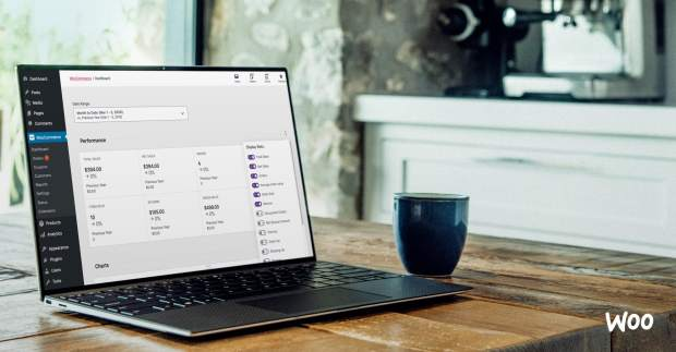 WooCommerce Analytics dashboard on a screen