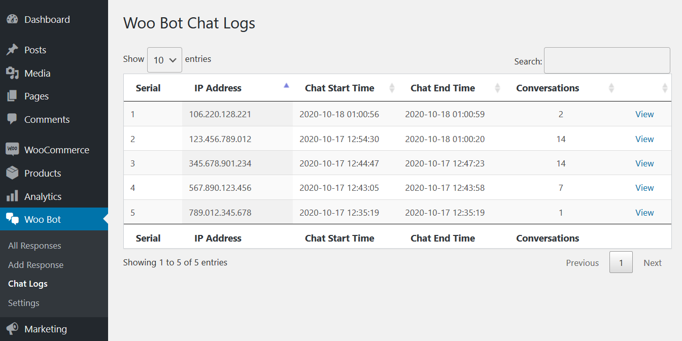Chat Logs Listing - Backend