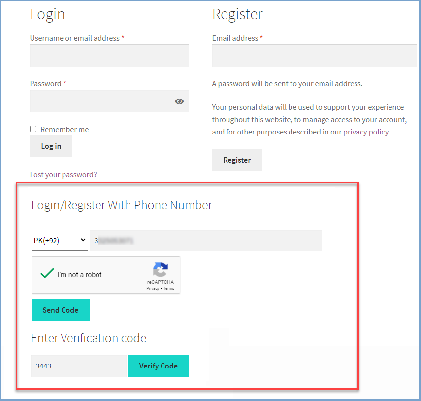 WooCommerce login with phone nmber