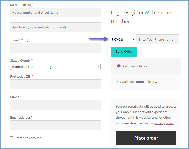 WooCommerce login with phone number