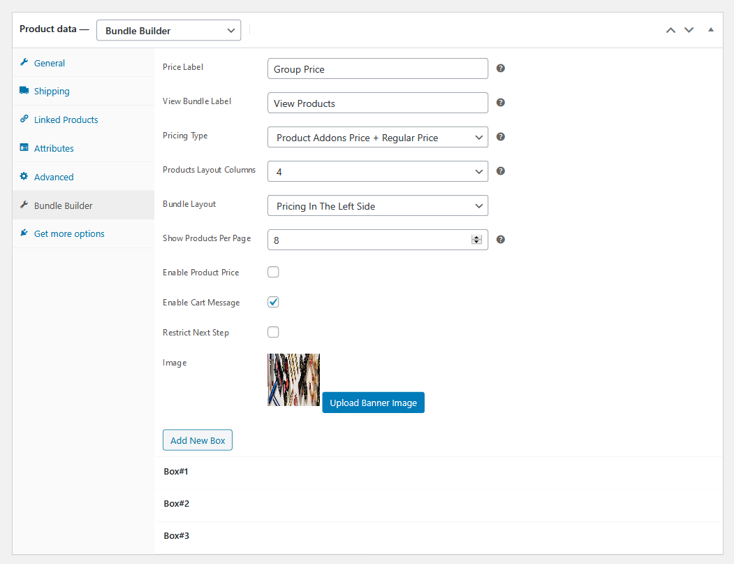 bundle builder for wooommerce product edit page