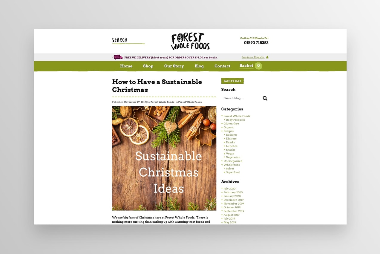 forest whole foods website with a blog post about how to have a sustainable christmas