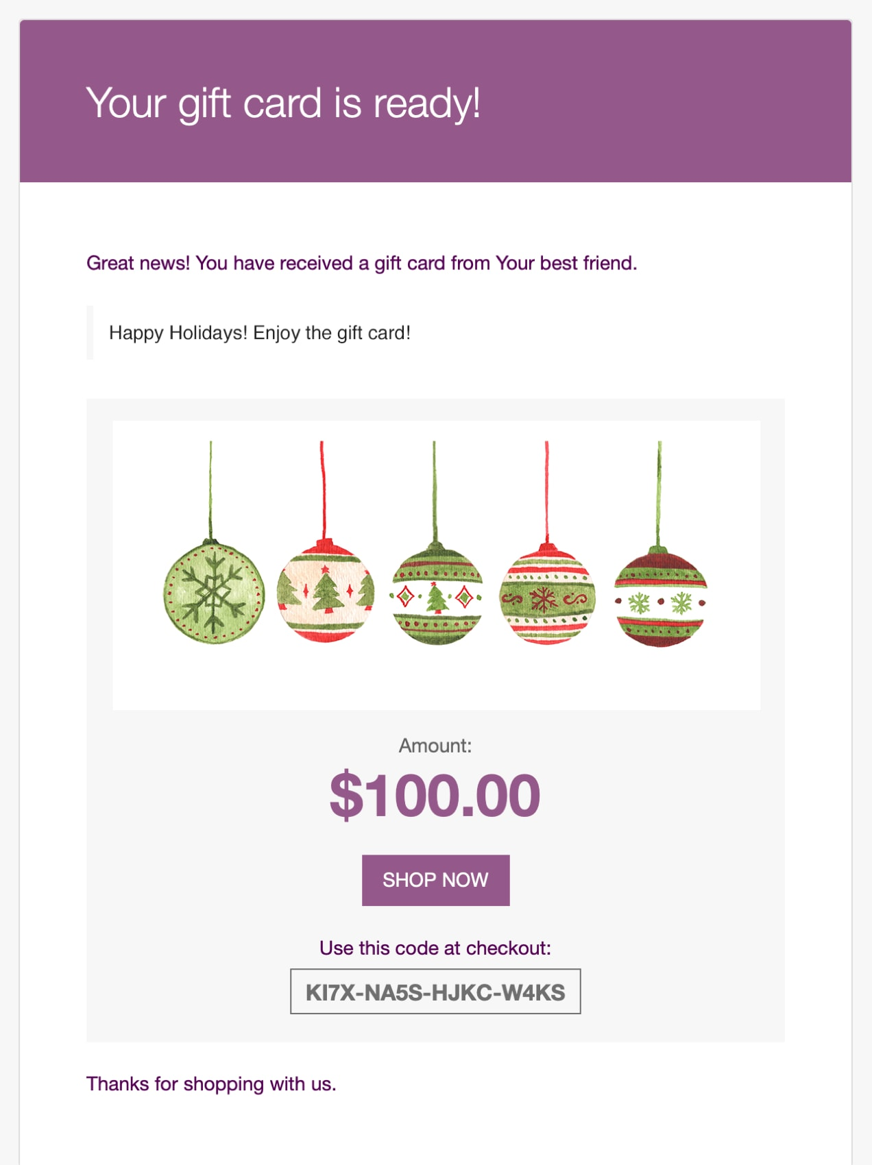 holiday gift card email confirmation