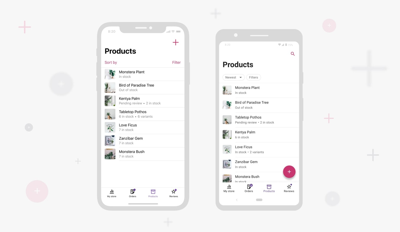 screenshots of adding products in the Woo mobile app