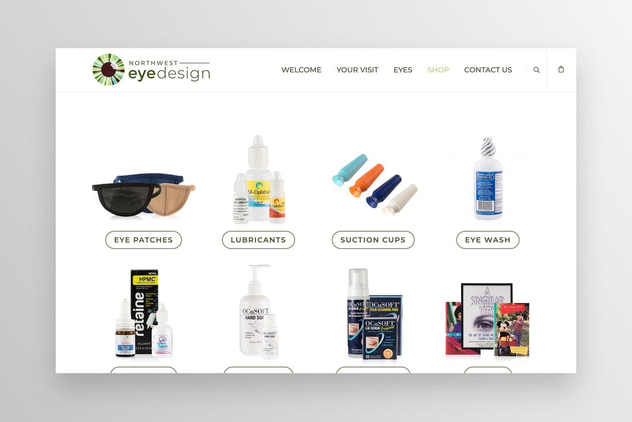 northwest eye design online store page