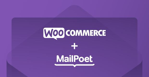 WooCommerce and MailPoet logos on a purple background